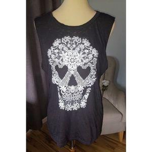 Embroidered Gray Flower Skull Tank XL